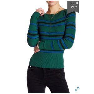 Free People Fern Crop Striped Green  Sweater S